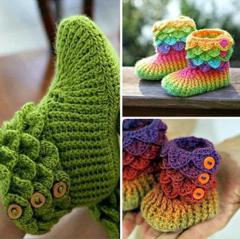 Adorable Crocodile Stitch Crochet Booties Pattern Beesdiy