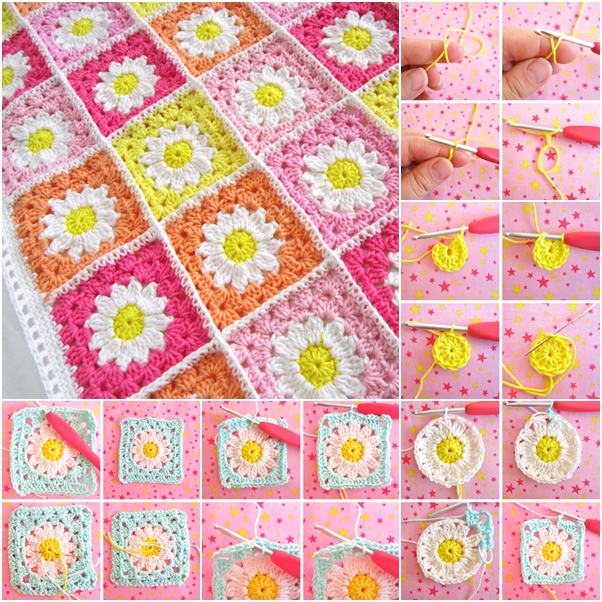 Flower Square Crochet Blanket Patterns Free Beesdiy