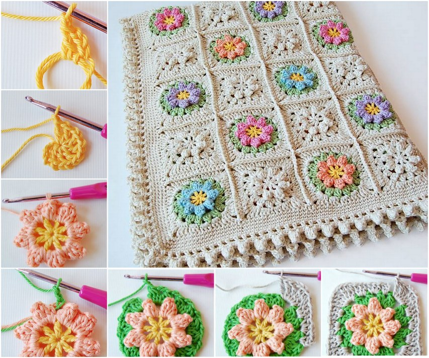 Flower Square Crochet Blanket Patterns (FREE) | BeesDIY.com
