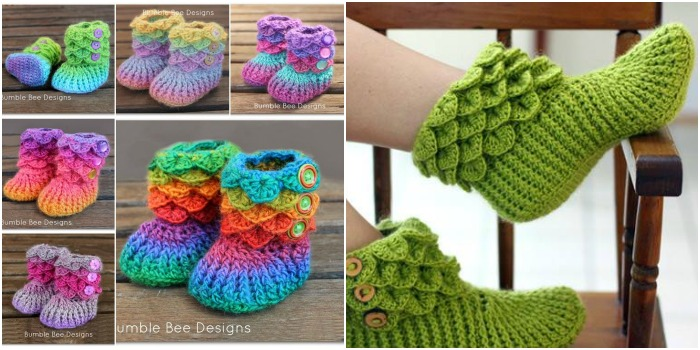 Adorable Crocodile Stitch Crochet Booties Pattern | BeesDIY.com