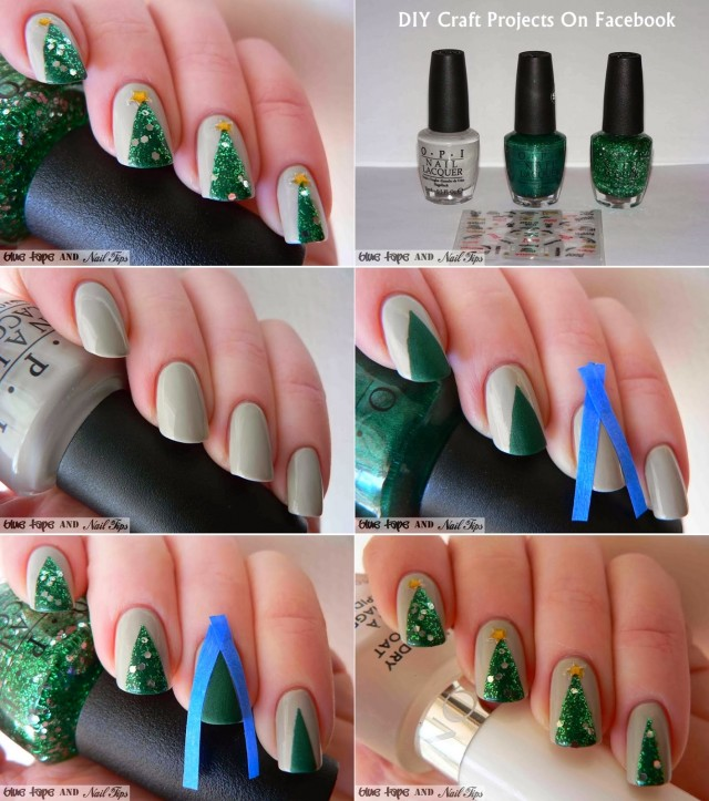 20+ Cutest Christmas Nail Art DIY Ideas--Easy-Christmas-Tree-Nail-Art-2