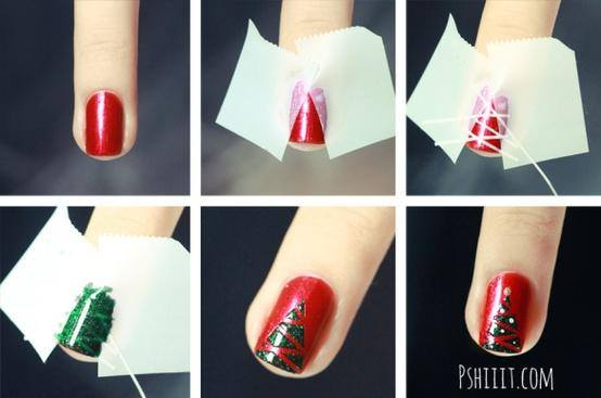 20+ Cutest Christmas Nail Art DIY Ideas--christmas-tree-nails-tutorial