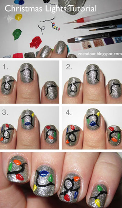 20+ Festive Christmas Nail Art Ideas- Christmas-Lights-Nail-Tutorial