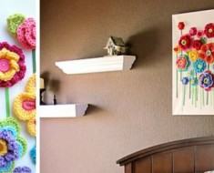 Crochet Button Flower Blossom Wall Art-beesdiy