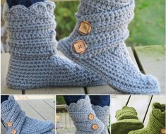 Crochet Buttoned Cuff Slipper Boots pattern (Video)