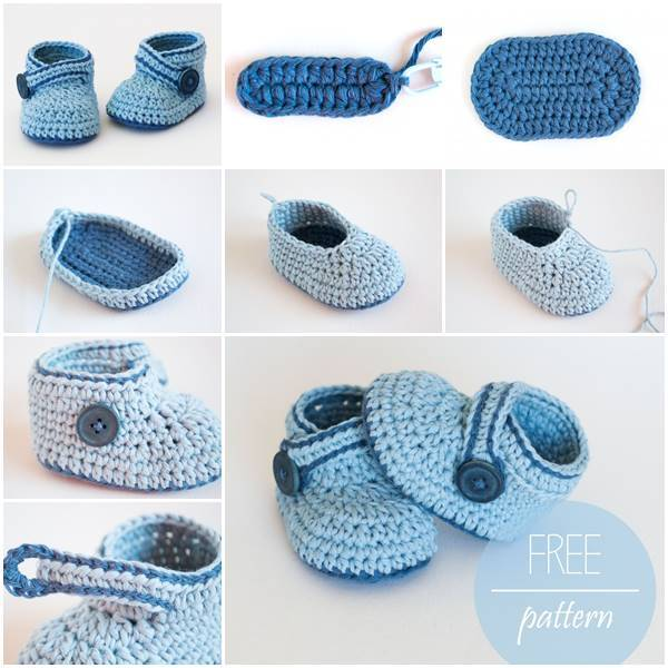 Adorable Blue Whale Crochet Baby Booties  (FREE pattern)