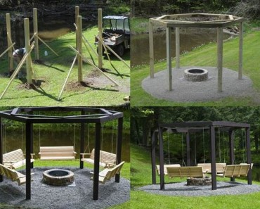 DIY Backyard Fire Pit with Swing Seats