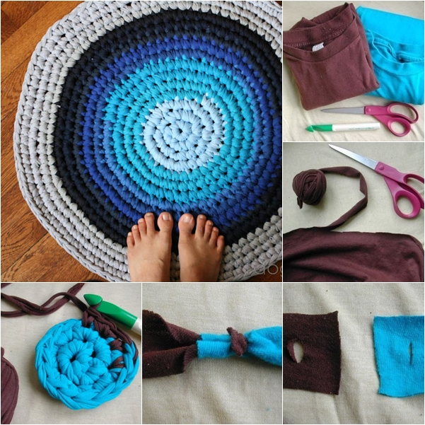DIY Crochet Rag Rug from Old T-shirts