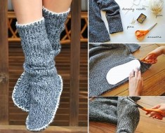How to DIY Slipper Boots from old sweater