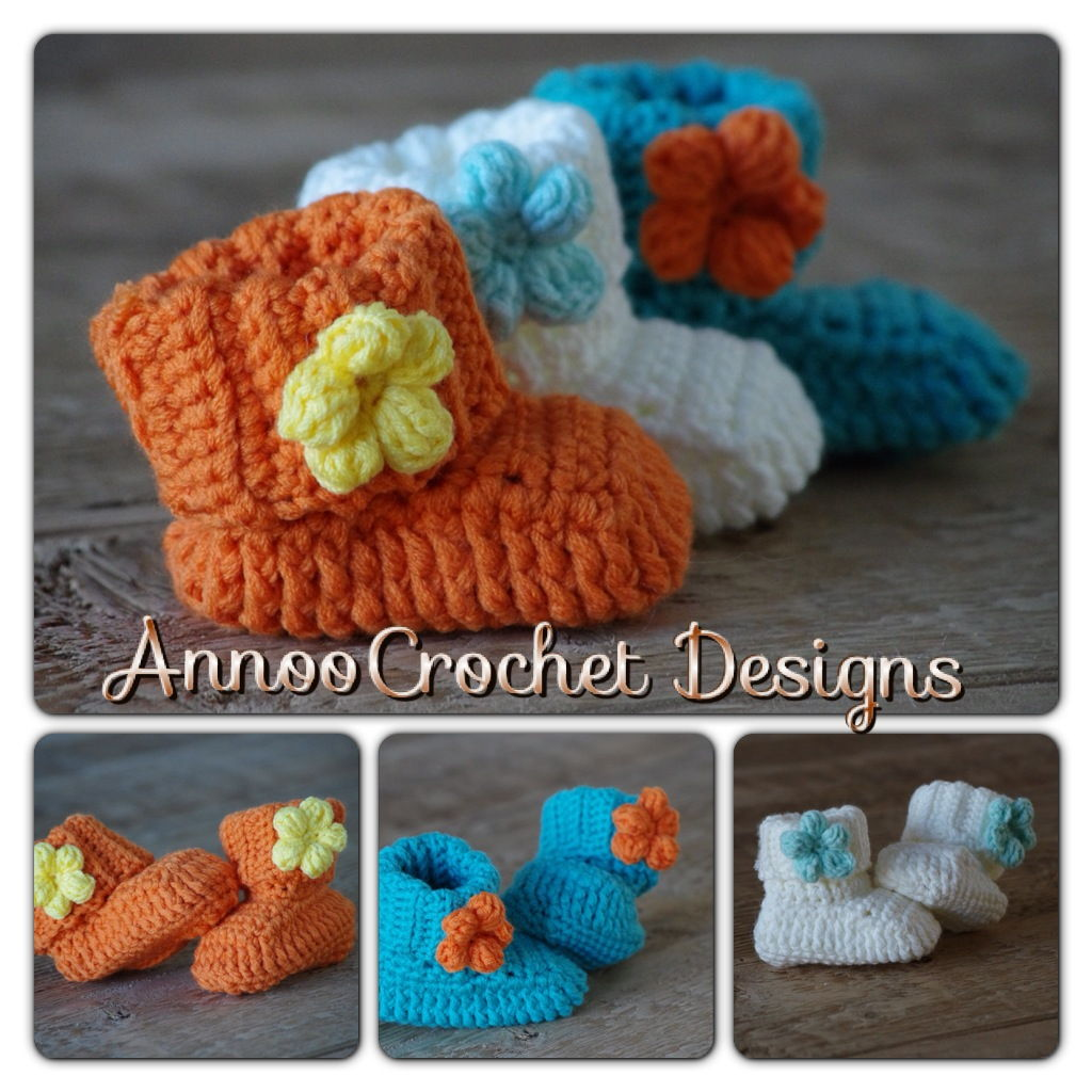 crochet baby flower booties
