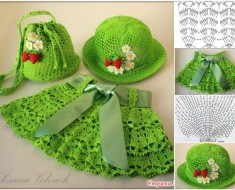 Crochet Skirt &Hat &Bag Set for Little Girls – Free Pattern