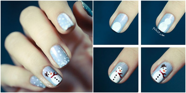 20 cutest christmas nail art designs beesdiy snowman nail art tutorial prinsesfo Images