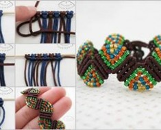 Beautiful and Colorful Wave Macrame Beaded Bracelet-beesdiy