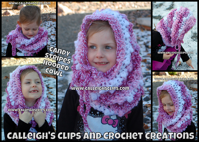 Candy Stripes Crochet Hooded Cowl