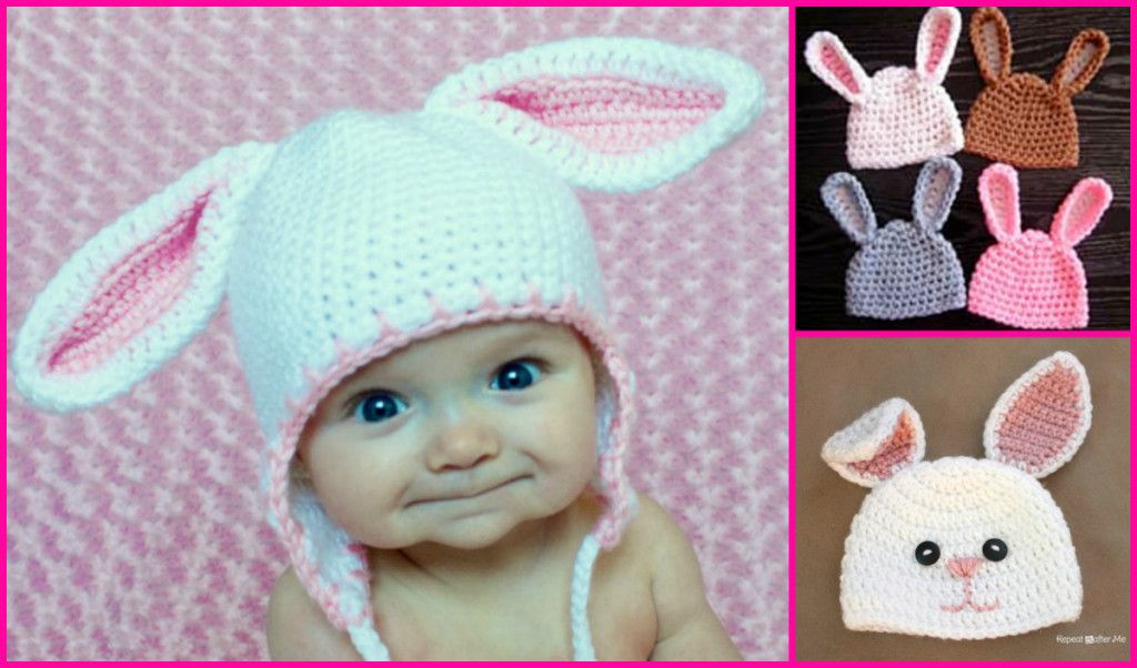 Crochet Pattern For Newborn Bunny Hat : Crochet Bunny Hats (FREE Patterns ) BeesDIY.com