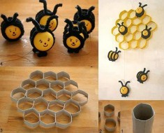 DIY Beehive Decoration from Paper Rolls