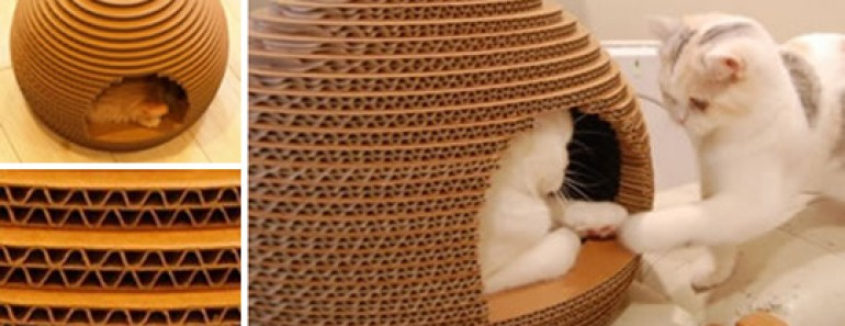 Cute DIY Cardboard Cat House