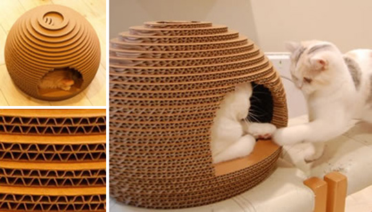 Cute diy cardboard cat house for Make a cat bed out of a box