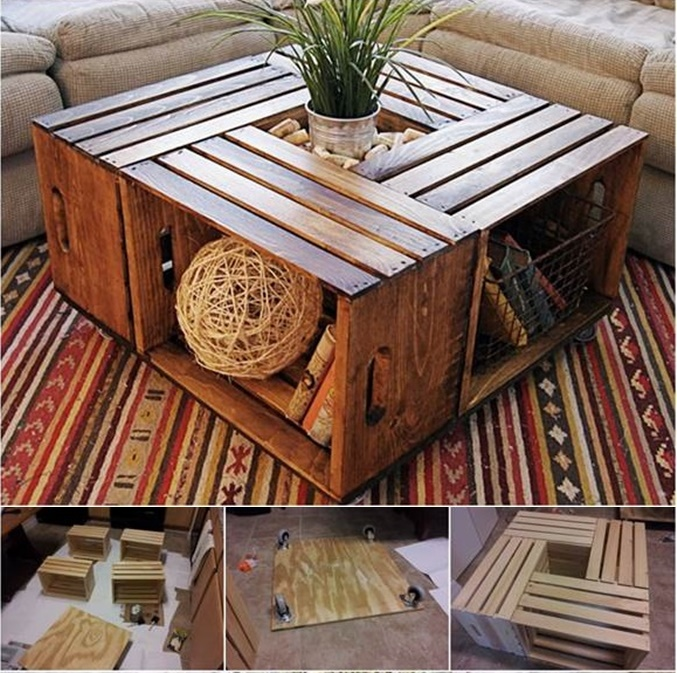 DIY Coffee Table from Recycled Wine Crates | BeesDIY.com