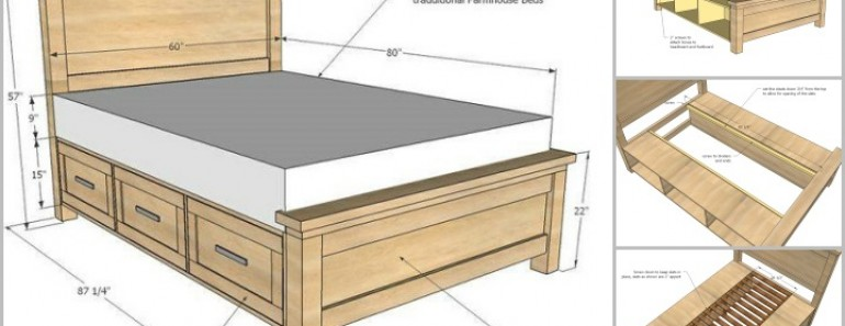 DIY Storage Bed With Storage Drawers | BeesDIY.com