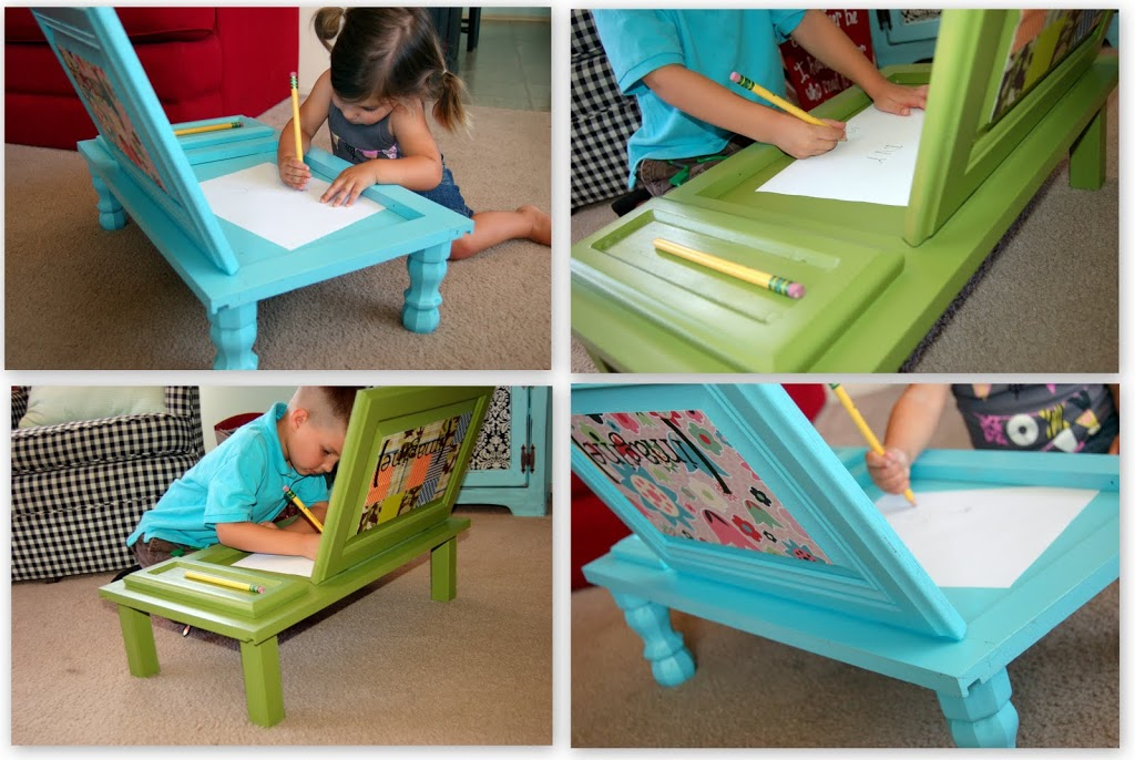 DIY Kids Art Desk From Old Cupboard Door