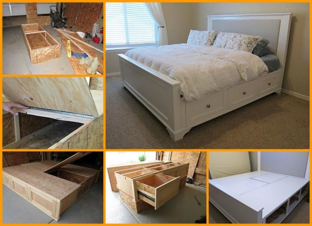 DIY Storage Bed With Storage Drawers BeesDIYcom