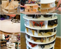 DIY Lazy Susan Shoe Storage Rack