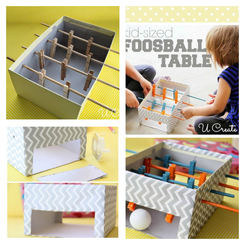 DIY Kids Foosball Table with Shoe Box