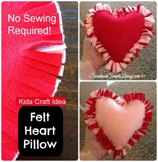 Heart shaped DIY No Sew Pillow