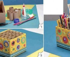DIY Pencil Holder from Paper Rolls