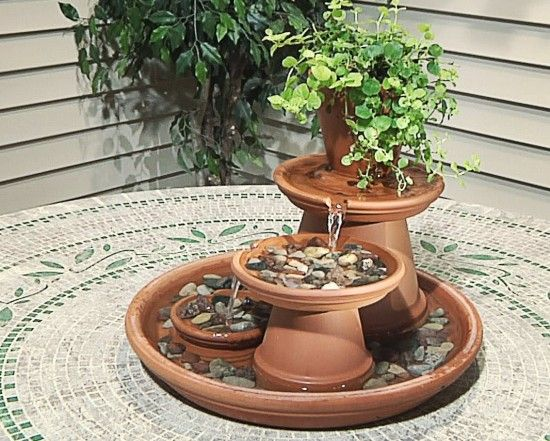 diy terracotta pot water fountain. Black Bedroom Furniture Sets. Home Design Ideas