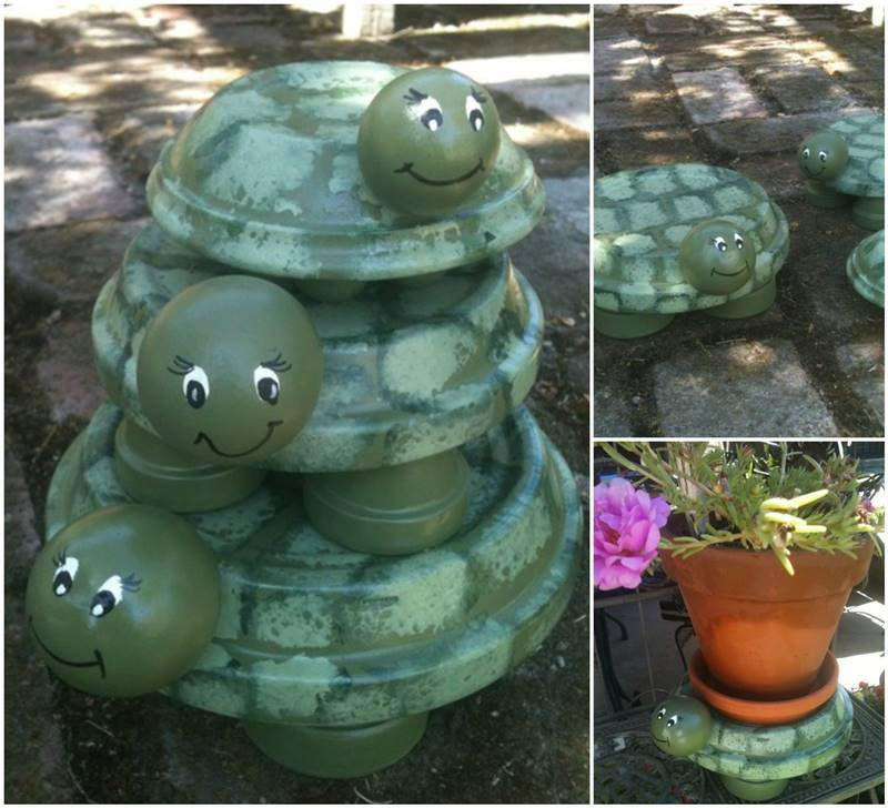 Diy terracotta turtle garden decors for Turtle decorations for home