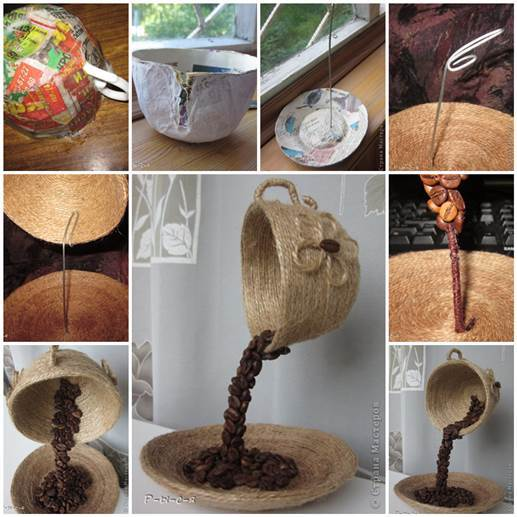 DIY Flying Cup Decor With Coffee Beans