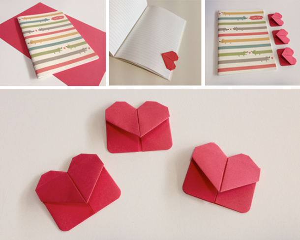 DIY cute heart shaped origami bookmark