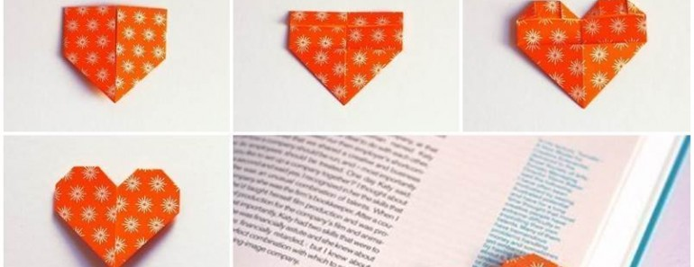 DIY Cute Heart Origami Bookmark