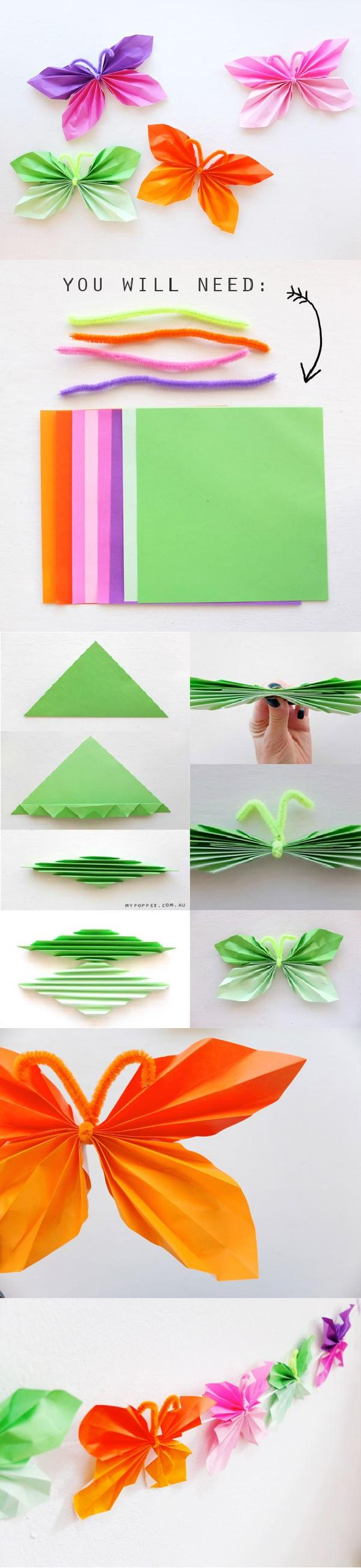 Easy Folded DIY Paper Butterflies
