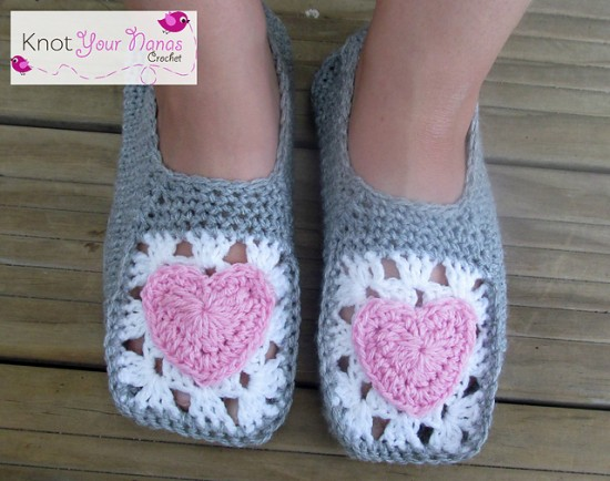 Free Valentines Crochet Patterns - heart slippers3