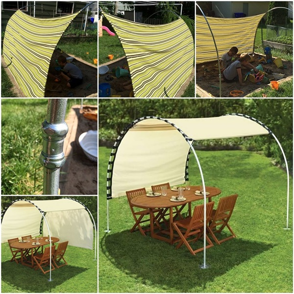 How to Make Adjustable DIY Outdoor Canopy & How to Make Adjustable DIY Outdoor Canopy | BeesDIY.com