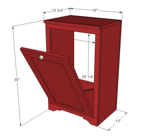 How to Make Wood Tilt DIY Trash Can Cabinet3