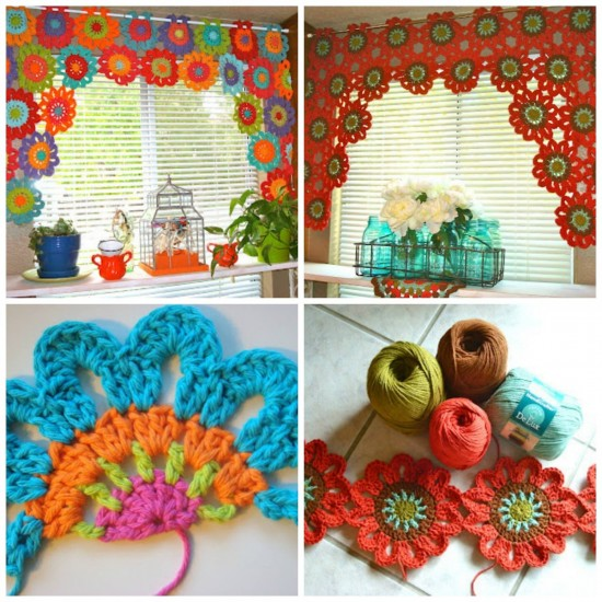 Crochet Patterns Valances : Crochet Flower Valance FREE Pattern BeesDIY.com