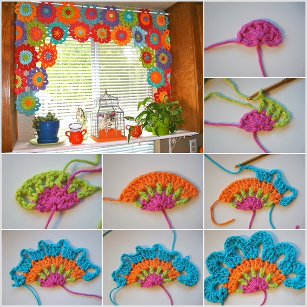 Free Crochet Patterns For Curtains And Valances : Crochet Flower Valance FREE Pattern BeesDIY.com