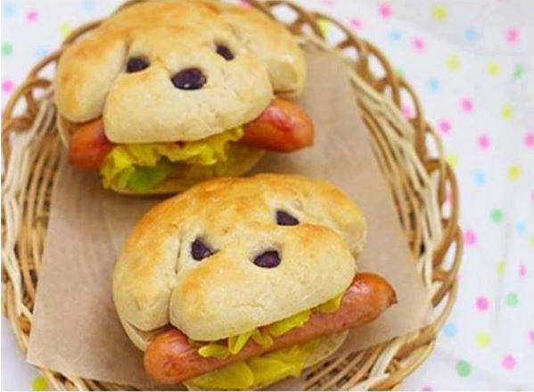 0+ Creative Sandwich Ideas- Dog Shape Hot Dog