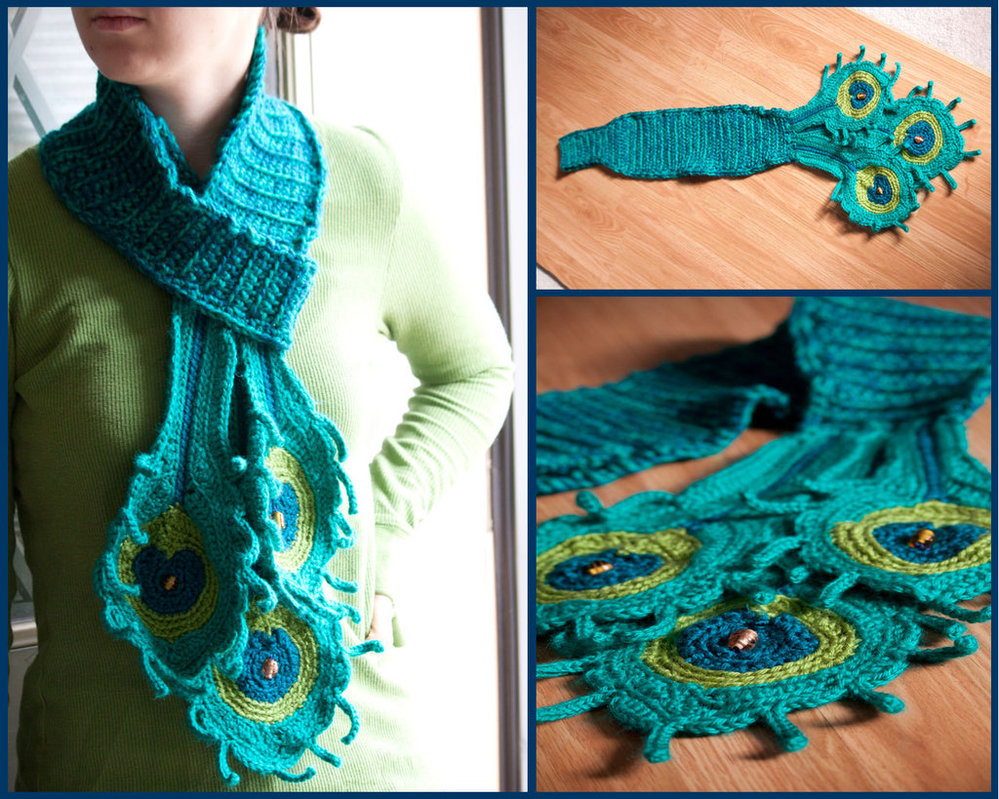 Pretty Crochet Peacock Feather Patterns Round Up Beesdiy Com