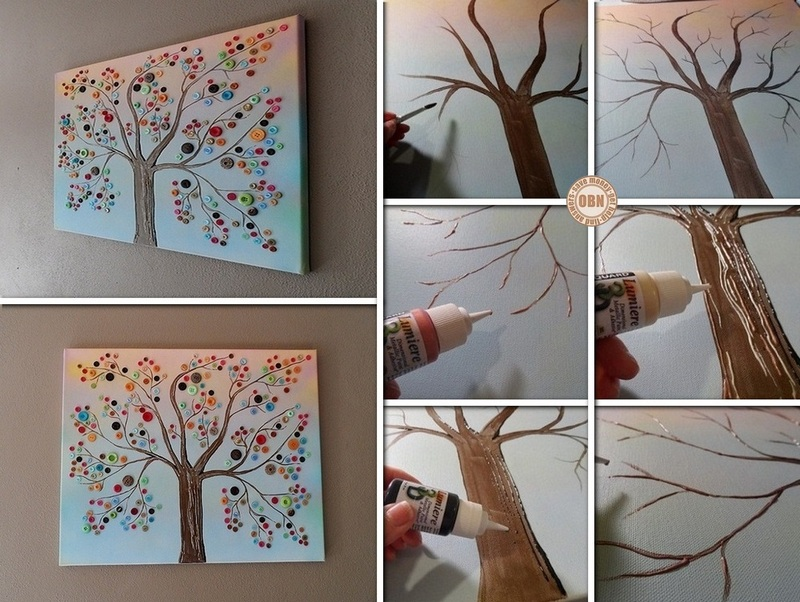 diy button tree canvas wall art. Black Bedroom Furniture Sets. Home Design Ideas