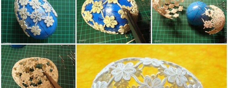 DIY Easter Egg with Quilling Flower Decoration