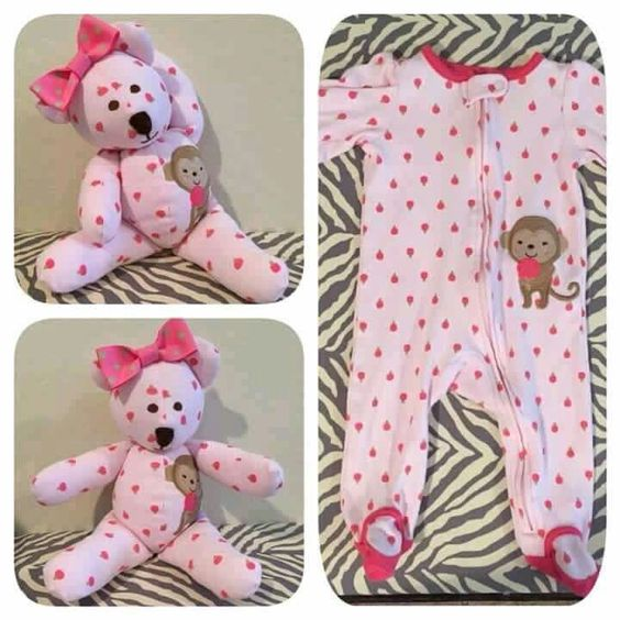 DIY Keepsake Bear from Old Baby Clothes