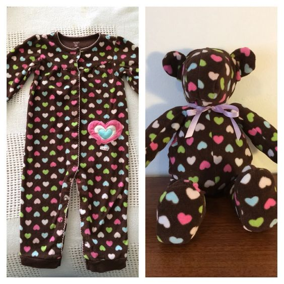 DIY Keepsake Bear from Old Baby Clothes 1
