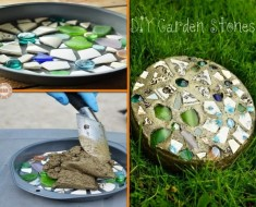 DIY Mosaic Stepping Stone with Cake Pan