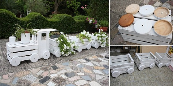 DIY Train Planters Out Of Old Crates