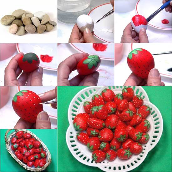 How to DIY Paint Rock Strawberries